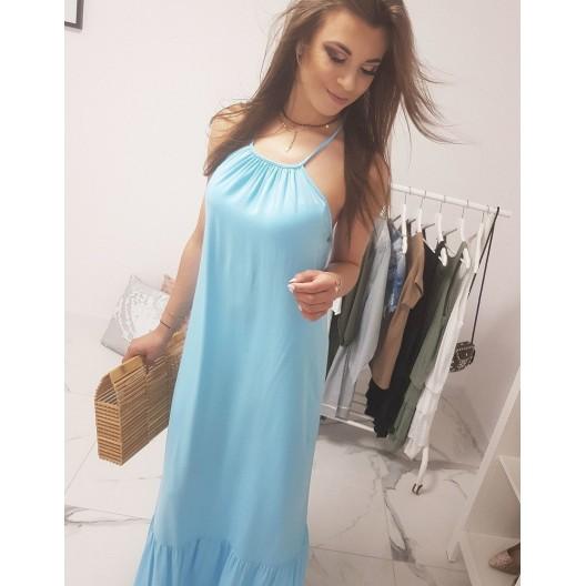 Krásne svetlo modré dámske maxi šaty s  ramienkami na pláž