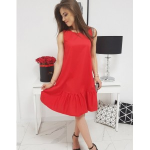 Červené dámske šaty letné bez rukávov a dolným volánom