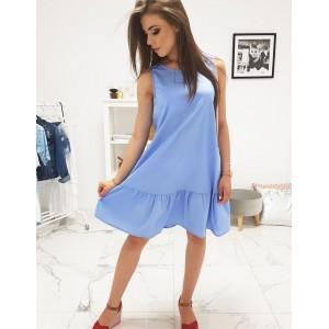 Trendy dámske modré šaty oversize strihu s ozdobným volánom