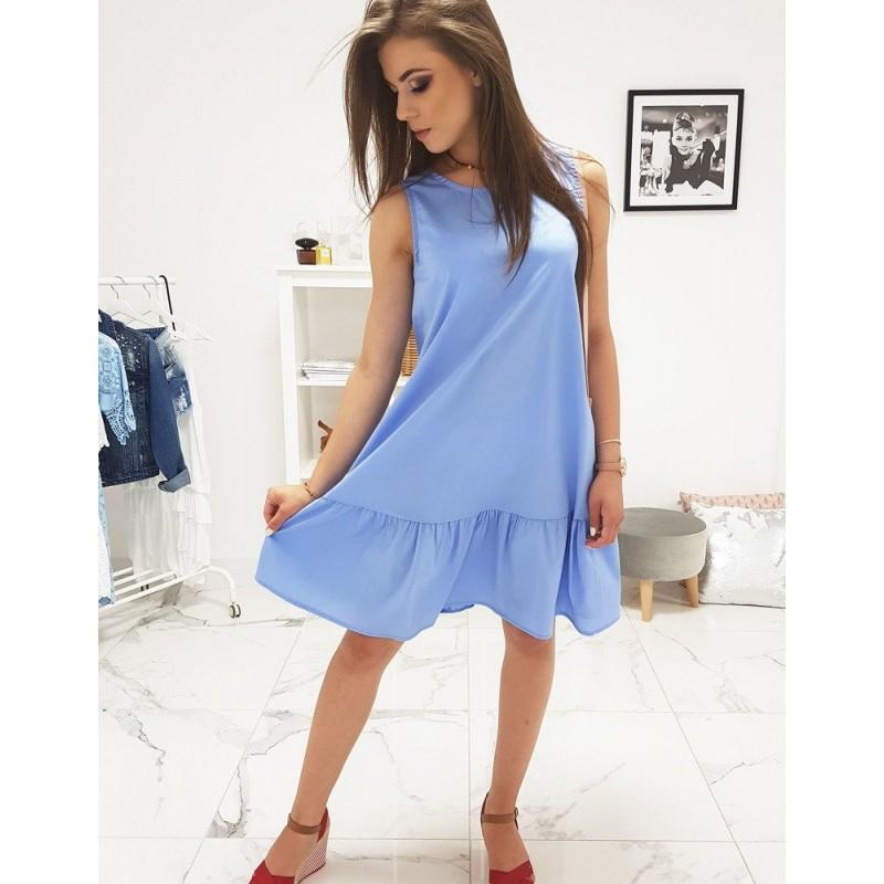 f83fd3bd76112 Trendy dámske modré šaty oversize strihu s ozdobným volánom