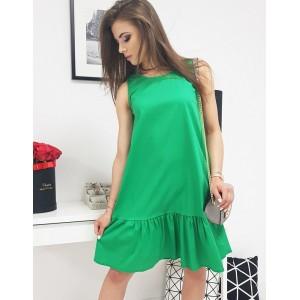 Letné dámske zelené šaty voľného strihu s ozdobným volánom