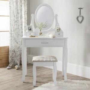 Biely toaletný stolík na kozmetiku so zrkadlom