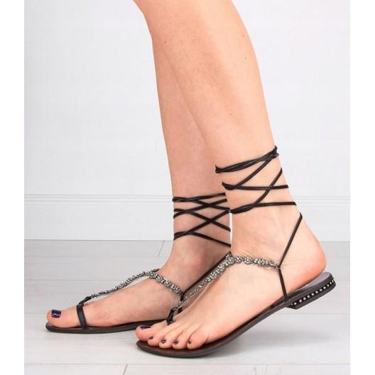 Dámske sandále na viazanie v čiernej farbe