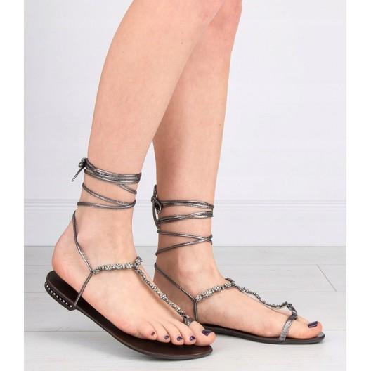 Štýlové dámske gladiátorky v sivej farbe