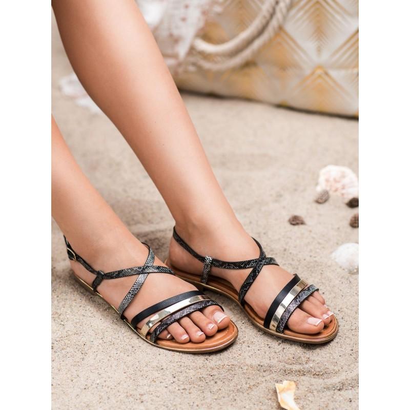 f5e25671aa547 Pásikované nízke čierno zlaté dámske sandále s haďou potlačou