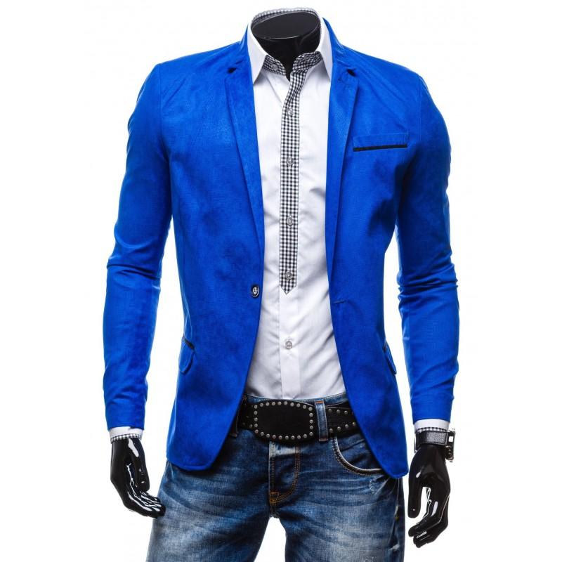 Štýlové pánske sako v extravagantnej modrej farbe pre ľudí 5c4cd0942b3