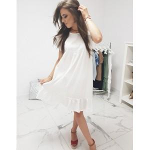 Romantické biele dámske šaty s volánom na rukávoch a v dolnej časti
