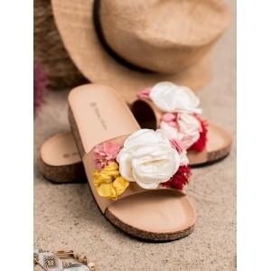 Štýlové dámske béžové šľapky s ozdobnými vintage kvetmi