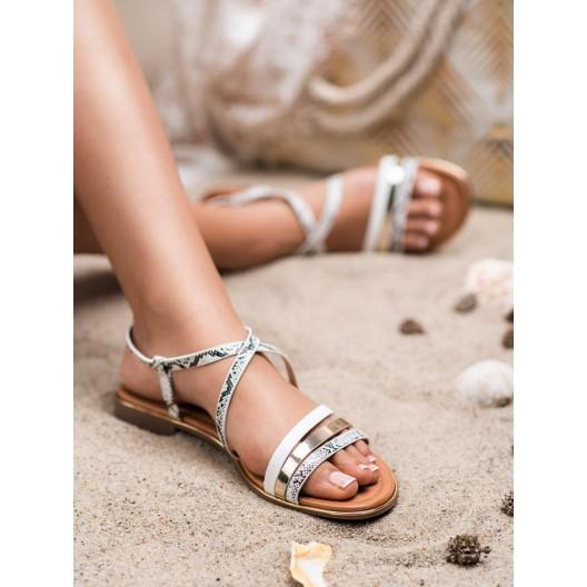 Štýlové bielo čierne dámske sandále s asymetrickým zapínaním