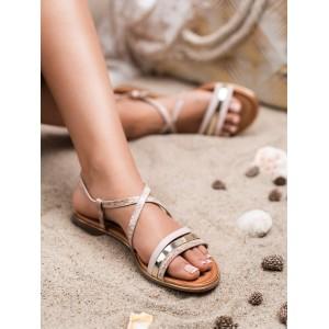 Letné dámske ružovo zlaté sandále s haďou potlačou a zlatým lemom