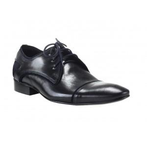 Pánske kožené topánky čiernej a modrej farby comodo e sano
