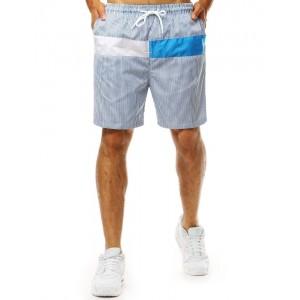 Modré pruhované kraťasy s vreckom vzadu