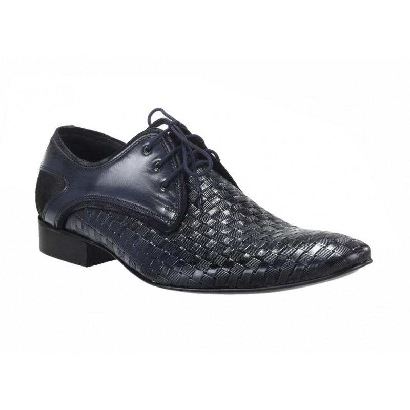 ef0420a0e1d8 Predchádzajúci. Pánske spoločenské kožené topánky modrej farby s hrebeňovým  vzorom ...