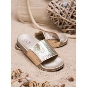 Originálne dámske zlaté šľapky letné na pláž s gumenou podrážkou