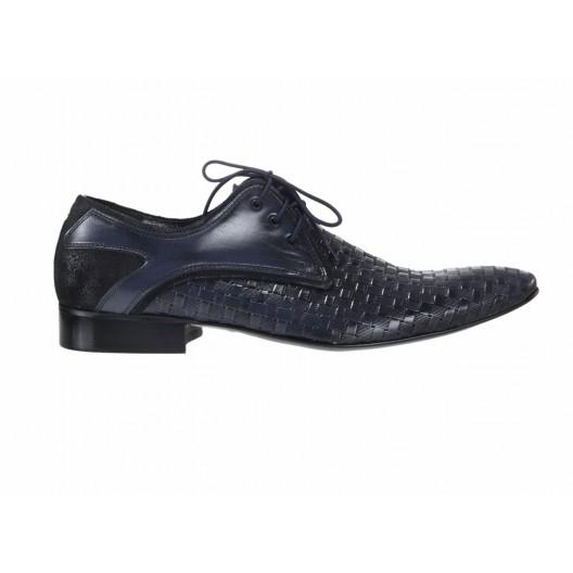 Pánske spoločenské kožené topánky modrej farby s hrebeňovým vzorom