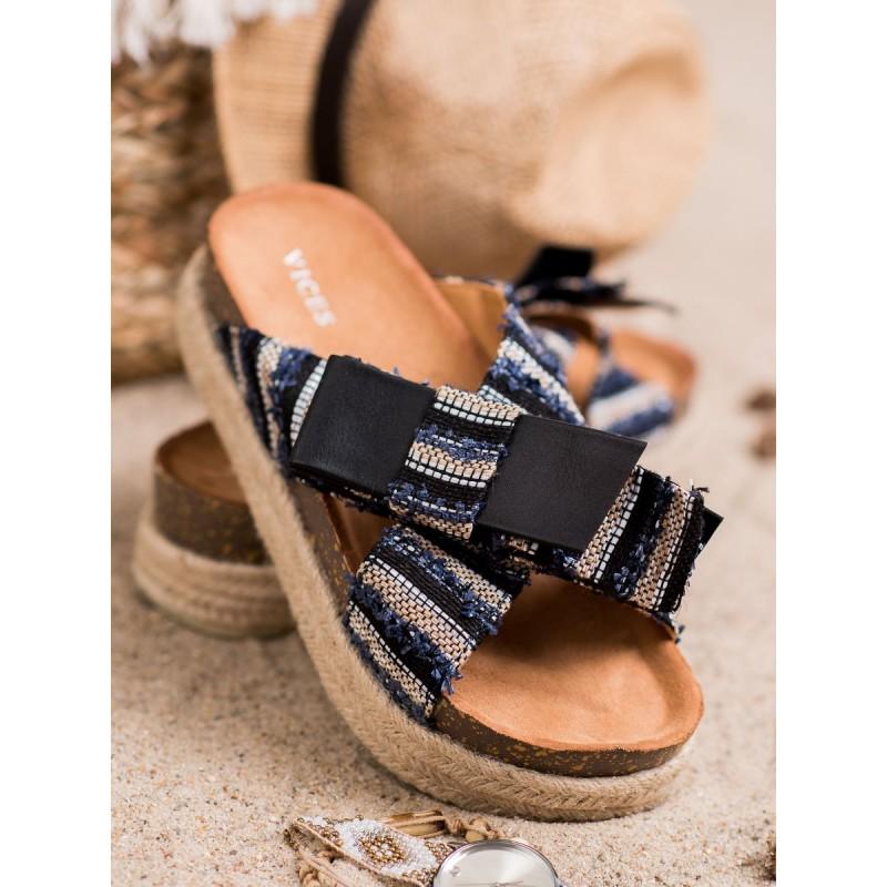 59b174e30165d Štýlové čierno modré dámske šľapky dreváky na platforme s pletencom