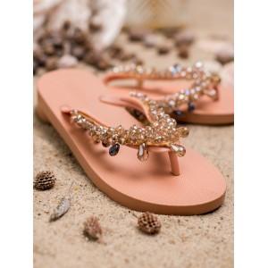 Gumené žabky dámske ružové so zlato béžovými kryštálikmi