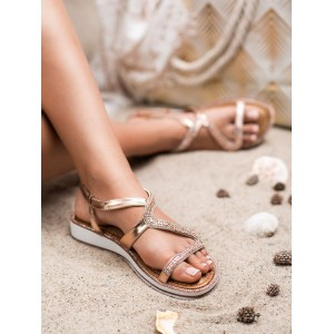 Dámske nízke zlaté sandále so zirkónmi
