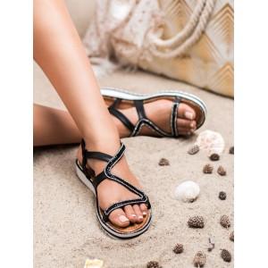 Elegantné dámske sandále nízke v čiernej farbe s ozdobnými zirkónmi