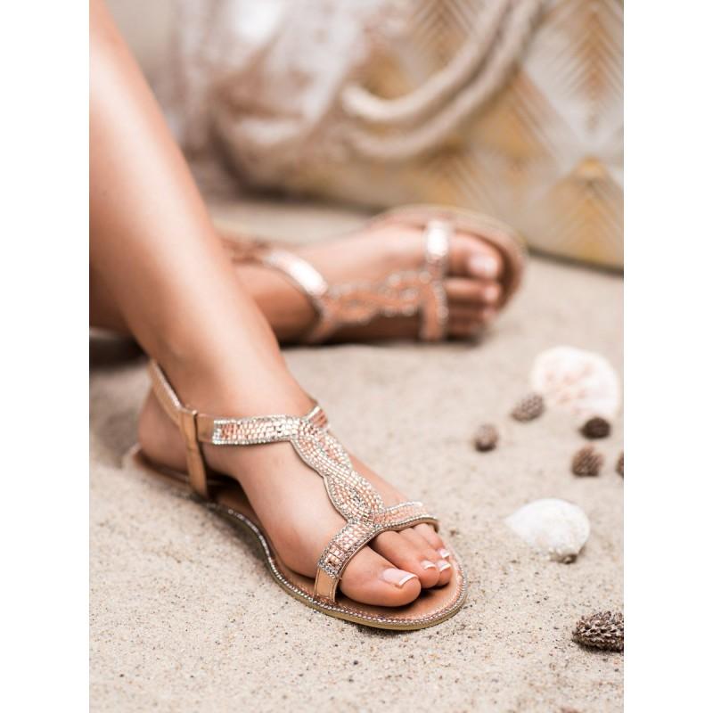 c2c144da65920 Dámske nízke ružovo zlaté sandále so zirkónmi v antickom vzore