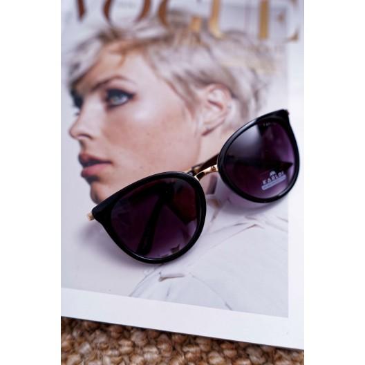 Dámske slnečné okuliare čierne so zlatými rúčkami
