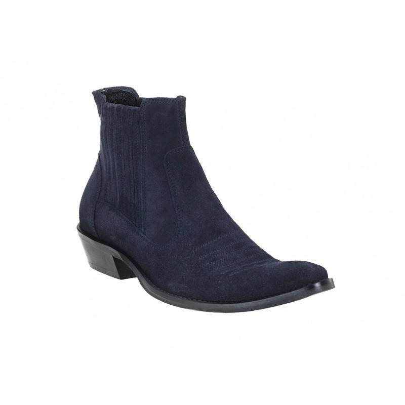 c5ecf650481b4 Pánske modré semišové kovbojky s koženým obložením - fashionday.eu