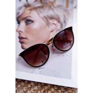 Štýlové dámske okuliare hnedo béžové so zlatými detailami