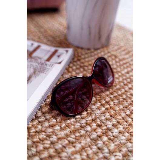 Imidžové dámske veľke slnečné okuliare červeno čiernej farby