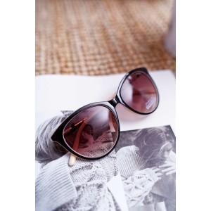 Dámske mačacie okuliare čierno béžové s trendy farebnými rúčkami