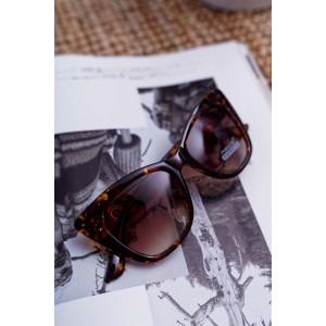 Štýlové dámske slnečné okuliare hnedo jantárové so zlatým detailom