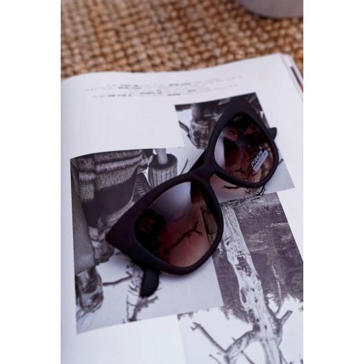 Hnedé matné dámske slnečné okuliare v tvare mačky