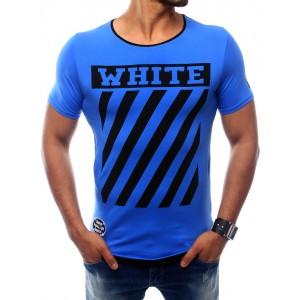 Pánske modré tričko s krátkym rukávom s potlačou