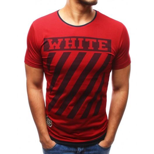 Štýlové pánske bordové tričko s krátkym rukávom a potlačou  WHITE