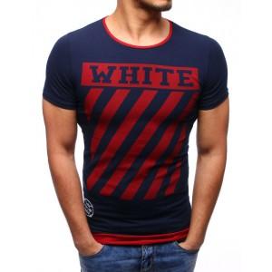 Trendy pánske tmavo modré tričko s červeným lemom a ukončením