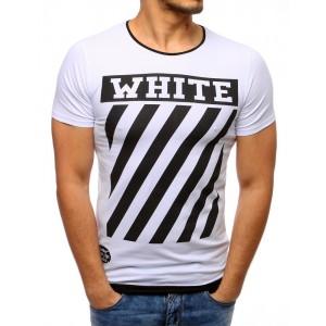 Pohodlné slim pánske tričko biele s módnym čiernym nápisom