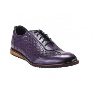 Pánske športové kožené topánky fialovej farby vhodné na každodenné nosenie