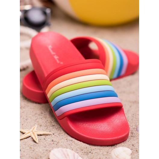 Moderné dámske gumené korálové šľapky na pláž s farebným designom
