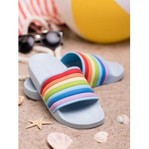 Modré dámske gumené letné šľapky s viacfarebným designom