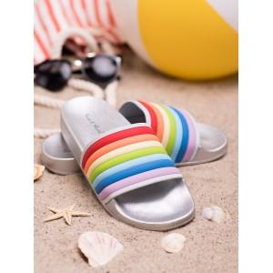 Imidžové dámske gumené strieborné šľapky s viacfarebným designom