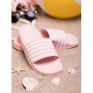 Ružové dámske gumené šľapky s pásikmi