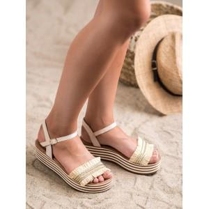 Módne dámske sandále hnedo béžové na platforme