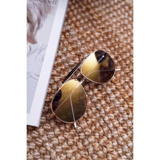 Trendy dámske slnečné okuliare pilotky so žlto béžovými sklami