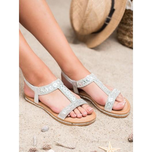 Luxusne dámske strieborné nízke sandále s trblietavými kamienkami