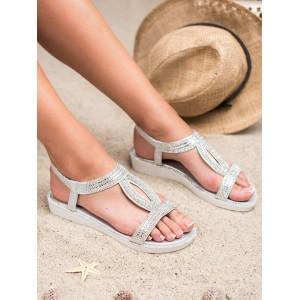 Luxusné bielo strieborné dámske sandály so zirkónmi