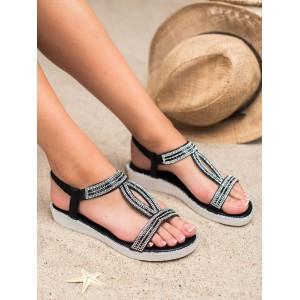 Štýlové dámske čierne nízke sandály s designom slza a zirkónmi