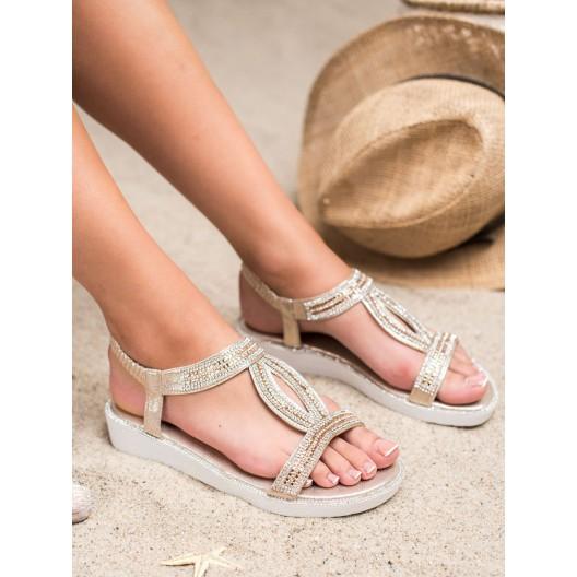 Zlaté dámske sandále v tvare slzy s trendy trblietavými zirkónmi