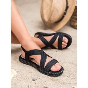 Pohodlné dámske celo čierne sandále na nízkej podrážke s pletencom