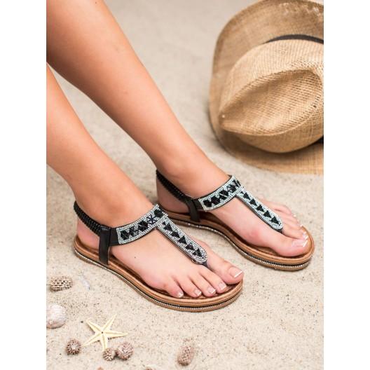 Dámske čierno strieborné sandále s kamienkami