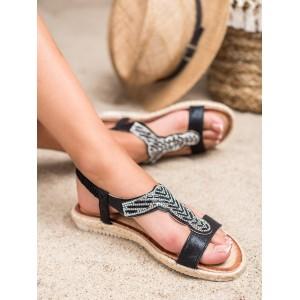Originálne dámske čierne sandále espadrilky so zirkónmi