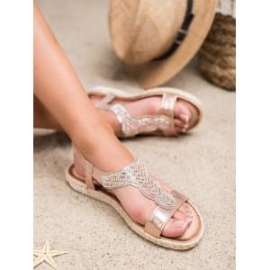 Luxusné dámske ružovo metalické sandále espadrilky so zirkónmi